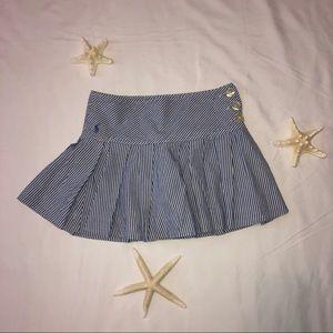 Girl's Ralph Lauren Seersucker Skirt Blue White 7